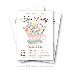 bridal shower tea party invitations bridal shower tea party invitation customized printable tea cup