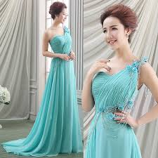 romantic wedding chiffon dress teal wedding dress one shoulder
