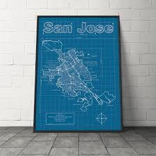 San Jose California Map San Jose California Map Blueprint Style Modern Graphic Design