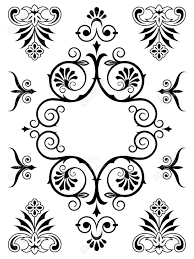 vintage calligraphic ornamental design elements with