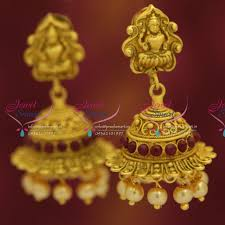 new jhumka earrings j5020 new temple antique mt finish laxmi god design jhumka