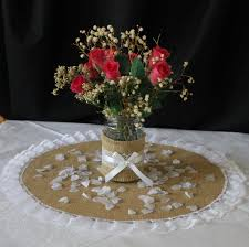 burlap wedding table mat wedding table centrepiece round