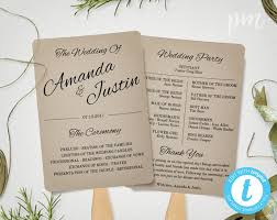 program fans wedding rustic wedding program fan template fan wedding program