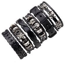 skull bracelet charm images 6pcs set leather bracelet men multilayer punk wrap bracelets jpg