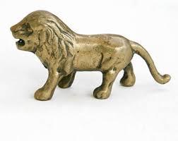 lion figurine brass lion figurine etsy