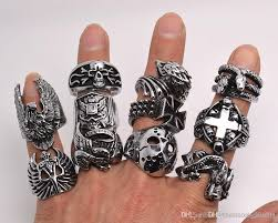 gothic rings silver images Oversize gothic skull carved biker mixed styles men 39 s anti silver jpg