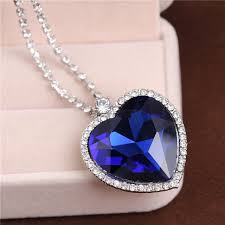 titanic blue necklace images Love forever classic titanic blue heart pendant necklace bride jpg