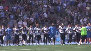 The National by Several Chargers Kneel Sit For National Anthem Abc7 Com
