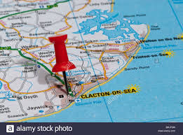 clacton on sea map map pin in road map pointing to city of clacton on sea stock