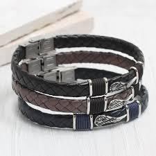 bracelet man images Personalised men 39 s leather angel wing bracelet hurleyburley jpg