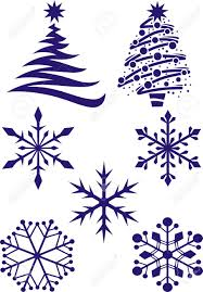 different types of snowflakes and fir trees for new year royalty