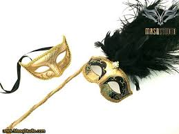 gold masquerade mask stick masquerade mask gold black costume burlesque prom