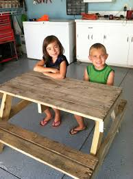 How To Build A Wooden Picnic Table by Diy Kids Picnic Table From Pallet Wood Diy At Needles And Nails