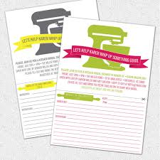 Kitchen Shower Ideas by Kitchen Bridal Shower Invitations With Detachable Recipe Card