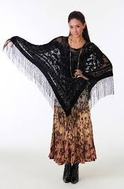 boho chic tan ombre skirt and black velvet pancho western wear
