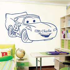 lightning mcqueen version 2 personalised with your name choice cobalt blue lightning mcqueen v2 decal on a bedroom wall
