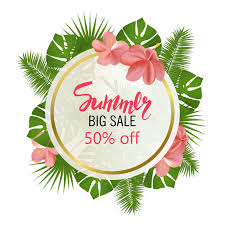 Tropical Flowers And Plants - summer big sale round summer sale tropical leaves frame tropical