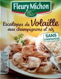 plat cuisiné fleury michon escalopes de volaille aux chignons et riz fleury michon 300g