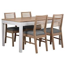 debenhams oak and painted u0027nord u0027 extending dining table and set of
