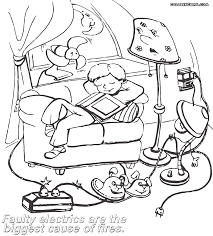 fire safety coloring pages draw a safety picture print and color