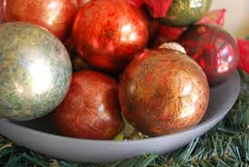 ornaments painted with plastic wrap