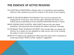 the four questions book how to read a book