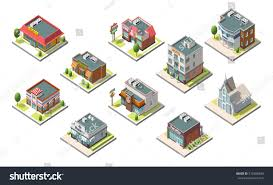 Included by Vector Isometric Buildings Set Isolated On Stock Vector 575998840