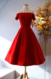 christmas cocktails vintage a smashing 1950s red velvet party dress with a scalloped neckline