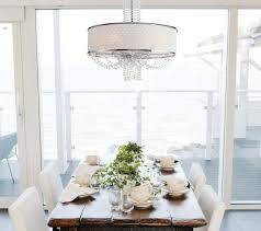 Allure Crystal Chandelier With Silk Drum Shade Contemporary - Dining room crystal chandelier