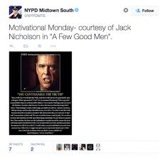 You Can T Handle The Truth Meme - nypd s latest twitter fail you can t handle the truth salon com