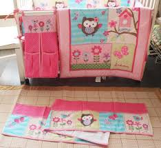 Boy Owl Crib Bedding Sets Sale Baby Bedding Set Embroidery Owl Butterfly Flowers Baby Crib