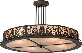 Rustic Ceiling Light Fixture Meyda 177220 Mountain Pine Rustic Silver Mica Flush