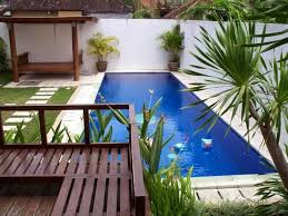 small backyard with pool and potted plants pool ideas for your