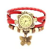 girls leather bracelet images Vintage butterfly analog watch for girls red leather bracelet jpg
