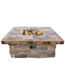 Gas Fire Pit Logs by Cal Flame 48 In Natural Stone Propane Gas Fire Pit In Gray With