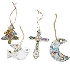 handmade recycled paper ornaments from tree