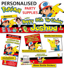 personalised pokemon birthday party banner and decorations pokemon party supplies ebay jpg
