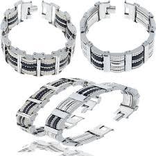 bracelet man silver stainless steel images Trendy silver black silicone stainless steel bracelets for men jpg