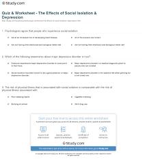 quiz u0026 worksheet the effects of social isolation u0026 depression