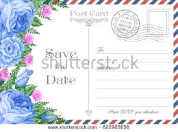 vintage postcard wedding invitation template flowers stock vector