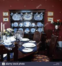 Dark Red Dining Room by Table Set For Dinner In Dark Red Nineties Dining Room With A Stock