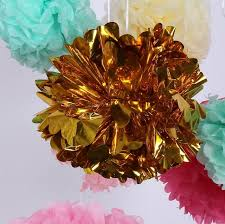 mylar tissue paper 10 inch 25cm metallic gold tissue paper pom poms mylar foil