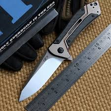folded steel kitchen knives ben zt0801cf bearing folding knife d2 titanium carbon fiber