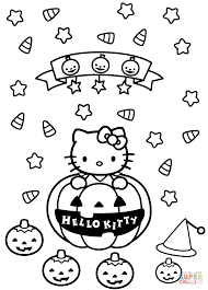 hello kitty halloween zombie coloring page inside coloring page