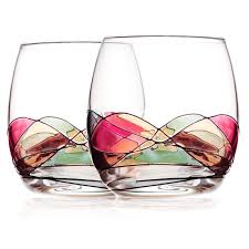 amazon com stemless wine glasses bouquetier stemless hand painted