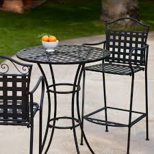 outdoor iron table and chairs belham living wrought iron bar height bistro set by woodard hayneedle