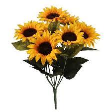 artificial sunflowers artificial sunflowers bush 7 yellow sunflower heads ebay
