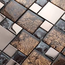 Glass Tile Bathroom Backsplash by Silver Stainless Steel Metal Mosaics Crackle Glass Tile Brown Walls