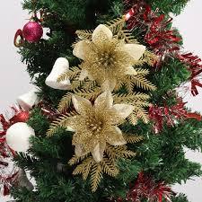 glitter artificial christmas tree flowers ornament pendant xmas