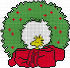 woodstock christmas wreath peanuts perler bead pattern bead